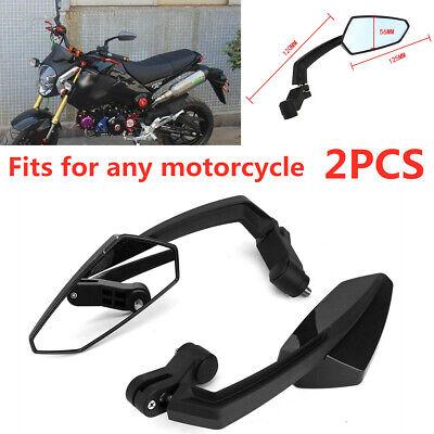 2PCS Universal Motorcycle Dirt Bike Cruiser ATV 8mm 10mm Rear View Mirrors Black