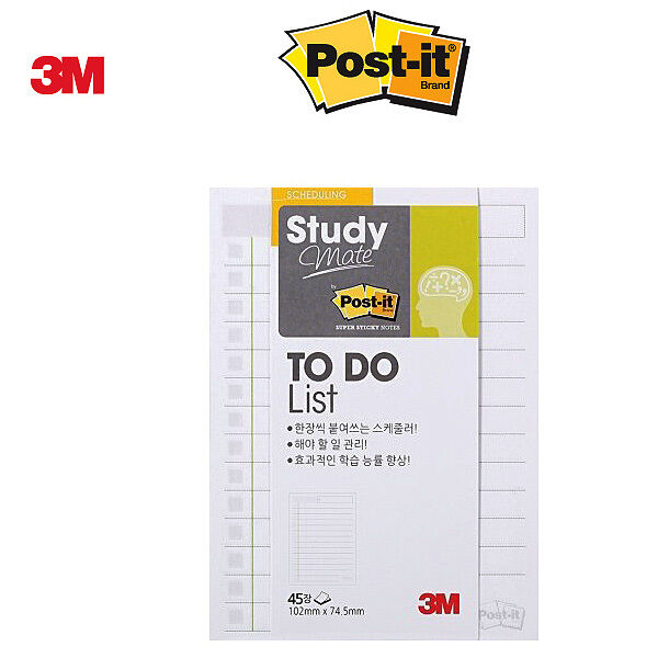 2 Pack x 3M POST-IT Study Mate TO DO LIST 657  Scheduling Sticky Notes Memo