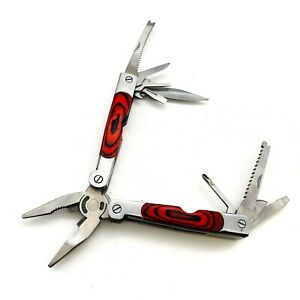Multi Tool Folding Pliers, Knife, Saw Blades, Screwdrivers, Stainless & Wood