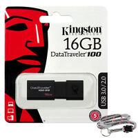 Kingston Dt100 G3 16gb Usb 3.0 Flash Memory Pen Drive Thumb Stick + Lanyard