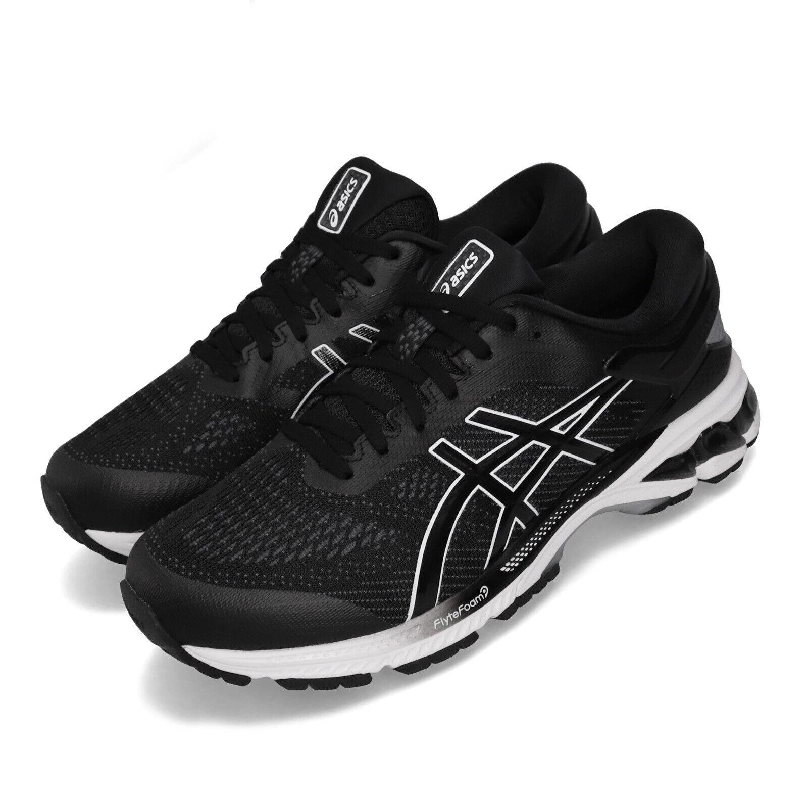 Asics Gel-Kayano 26 2E Ancho Negro blancoo Hombres Running Zapatos TENIS 1011A542-001