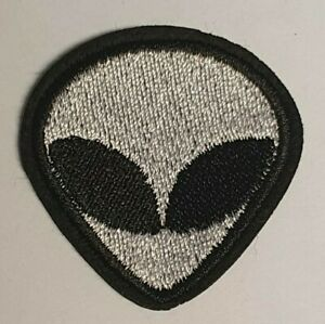 Iron on or Sew on Patch/Patches - Embroidered Alien Head.
