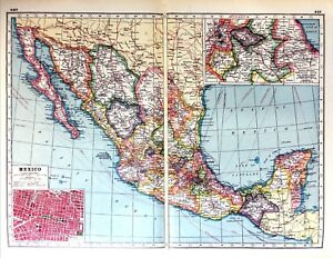 Vintage Antique Original 1920 Print Map Of Mexico Mexico City Plan