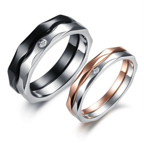 JZ124 Moda Titanium Acero Cristal Brillante Ring Couple Wedding Regalo de San Valentín