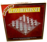 Glass Checkers Set 24 Shot Glasses & Game Board Loads Of Fun Free Shipping