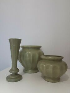 3-Vintage-Haeger-Art-Pottery-Vase-Green-Mottled-Design