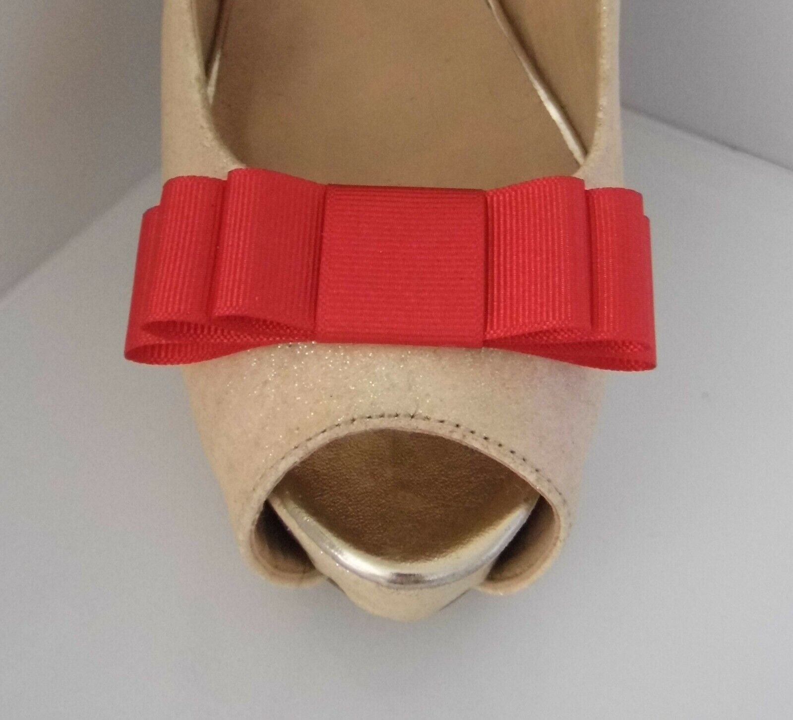 2 Handmade Red Grosgrain Triple Bow Shoe Clips - other colours on request