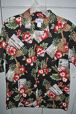 Hawaii  XL  Ukulele Postcards,Pineapple and Hibiscus on Black/Mint