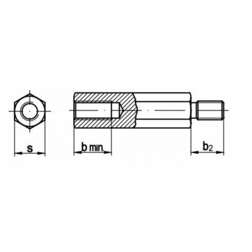100x Abstandbolzen M 3 x 8 Innen-Innen