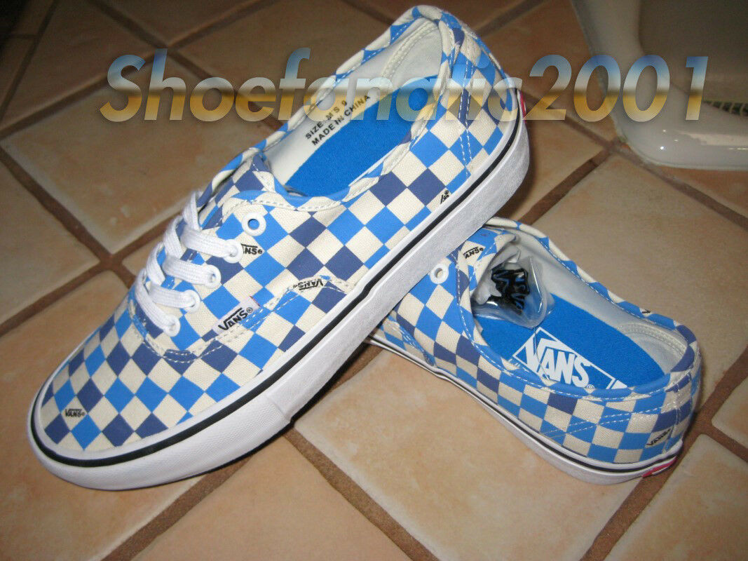 Vans Sample Authentic Pro Checkerboard 9 Skate Weiß Indigo Bunting All Over