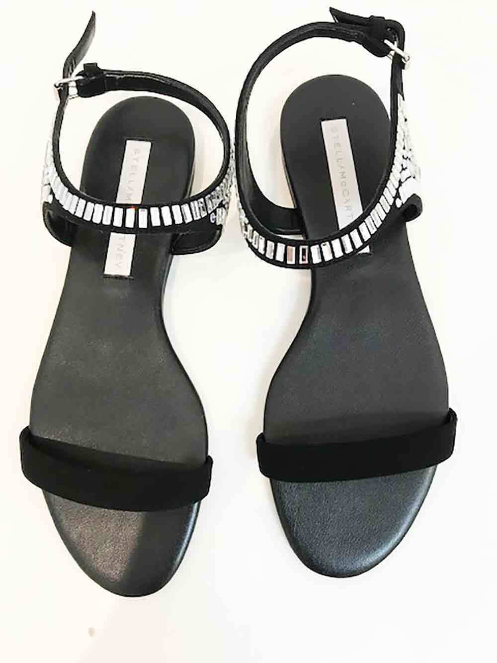 Designer BNWB Stella McCartney Dimensione 39 Crystal Embellished nero Wouomo Sandals