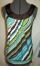 Heart Soul chocolate ribbon rose neckline turquoise olive stripes tank top small