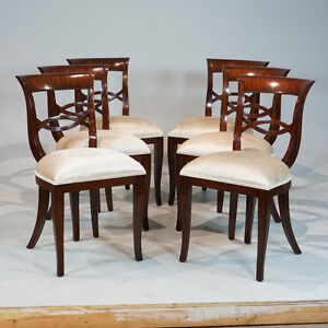 Wondrous Details About Set Of 6 Biedermeyer Style Mahogany Traditional Dining Chairs Squirreltailoven Fun Painted Chair Ideas Images Squirreltailovenorg