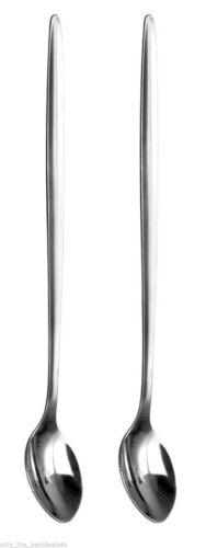 2 x acier inoxydable poignée longue cuillères 20cm