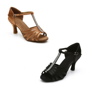 Women Girl lady/'s Ballroom Tango Latin Dance Dancing Shoes heeled Salsa 2 Color