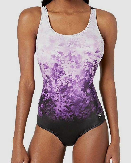 Womens Speedo Sculpture Aquagem Swimsuit In Purple