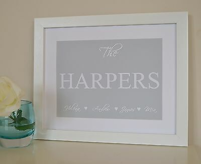 Personalised Housewarming New Home Gift Family Framed Print Sign Plaque