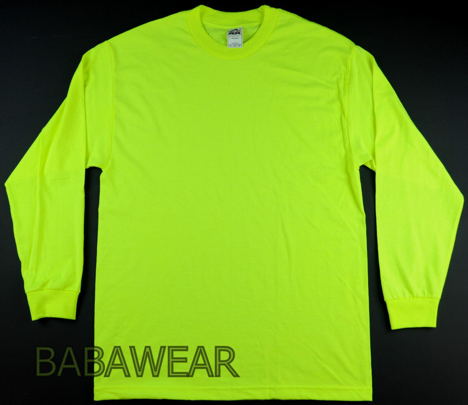 9151d6bd 4 LONG SLEEVE SHIRTS HIGH VISIBILITY SAFETY GREEN PLAIN BRIGHT TEE NEON AAA  nnwvhm2676-T-Shirts