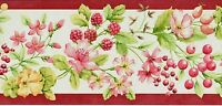 Spring Cottage Pink Flower Blossoms Berries Strawberries Fruit Wallpaper Border