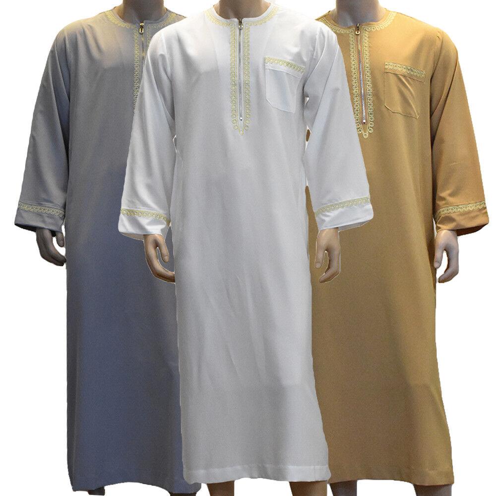 Saudi Arabic Men Thoub Thobe Jubba Robe Daffah Dishdasha Islamic Kaftan