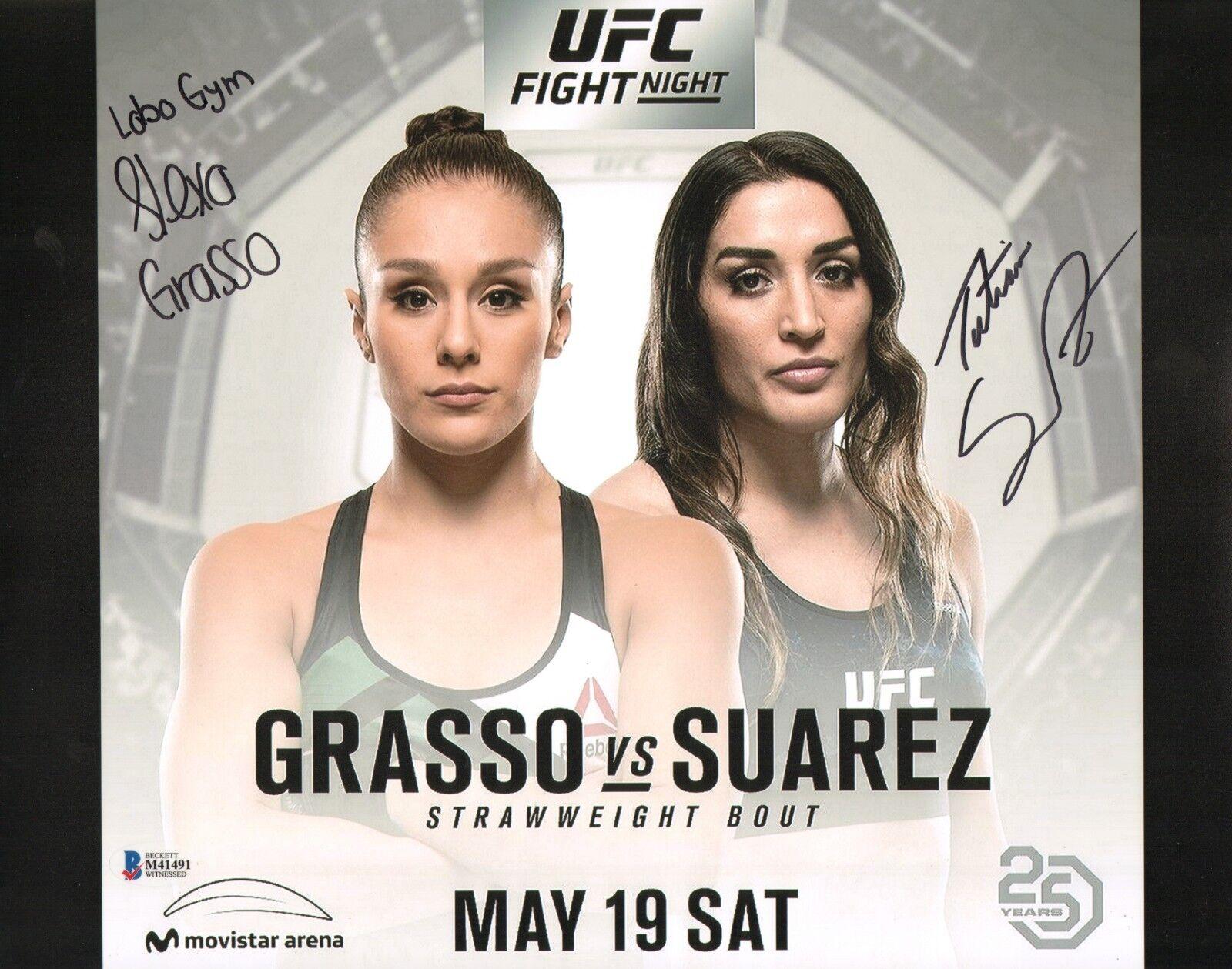Alexa Grasso & Tatiana Suarez Firmado 11x14 Foto Bas COA UFC Fight Night 39.3m18