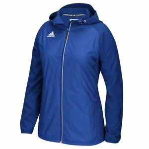 Details zu Women's MEDIUM Adidas Modern Varsity Jacket BLUE rain raincoat hooded m womens