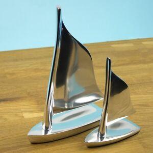 Aluminium-Sailing-Boat-Dingy-Yacht-Sculpture-Model-Ornament-2-Sizes-Available