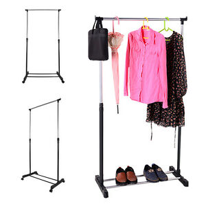 Adjustable-Dress-Coat-Garment-Hanging-Clothes-Rail-Rack-Storage-Stand-Castors