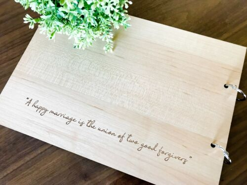 Engagement Wooden Guest Book Personalised Mr /& Mrs with Floral Frame Wedding
