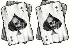 Distressed ACE OF SPADES Gothic Skull Playing Cards vinyl Helmet Car sticker