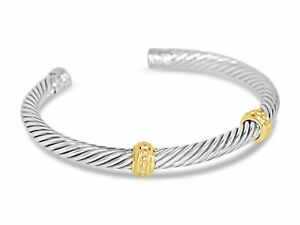 DAVID-YURMAN-5MM-DOUBLE-STATION-STERLING-SILVER-amp-14K-CUFF-BRACELET