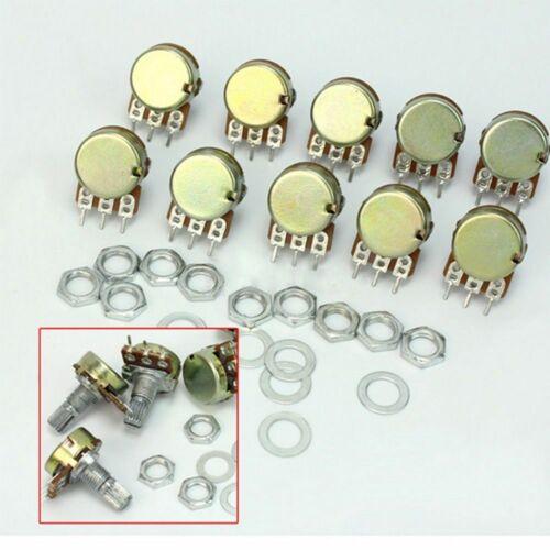 10x B10K 15mm Ohm  Kegel Drehpotentiometer Panel Pot Shaft Muttern Scheiben