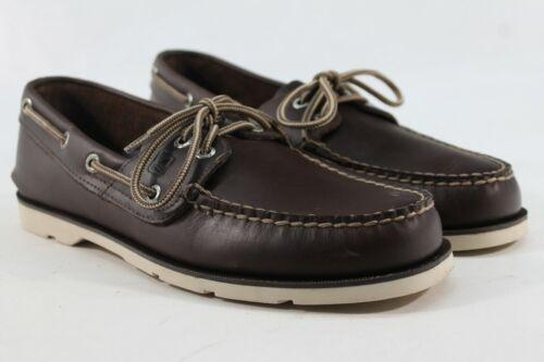 Sperry Top-Sider Men/'s Leeward 2-Eye Dark Brown//White Boat Shoe FLSAMP