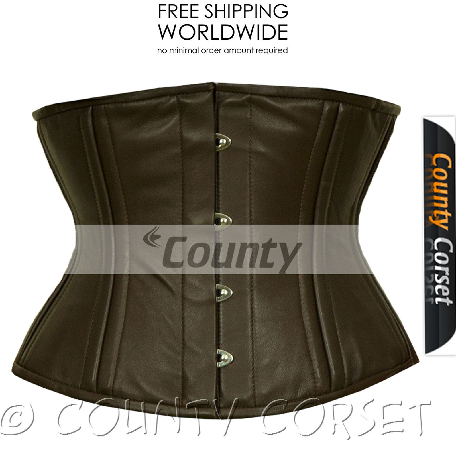 Cincher Waistbust Waist Training 18 Double Steel Boned Brown Leather Corset