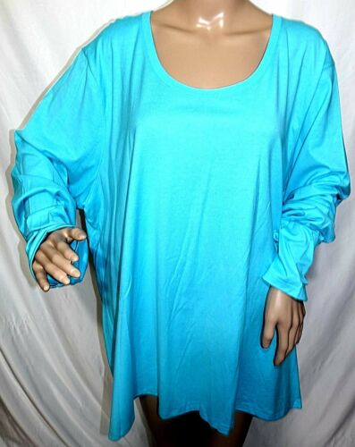 JMS Just My Size Women Plus 4X 26//28 Turquoise Basic Classic Tee T Shirt Top