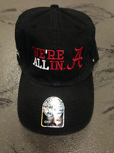 """University of Alabama Black """"We're All In"""" Embroidered Playoff Cap"""