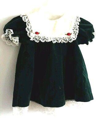 b.t. kids Christmas Dress  Emerald Green Velveteen  6-9 months lace short sleeve