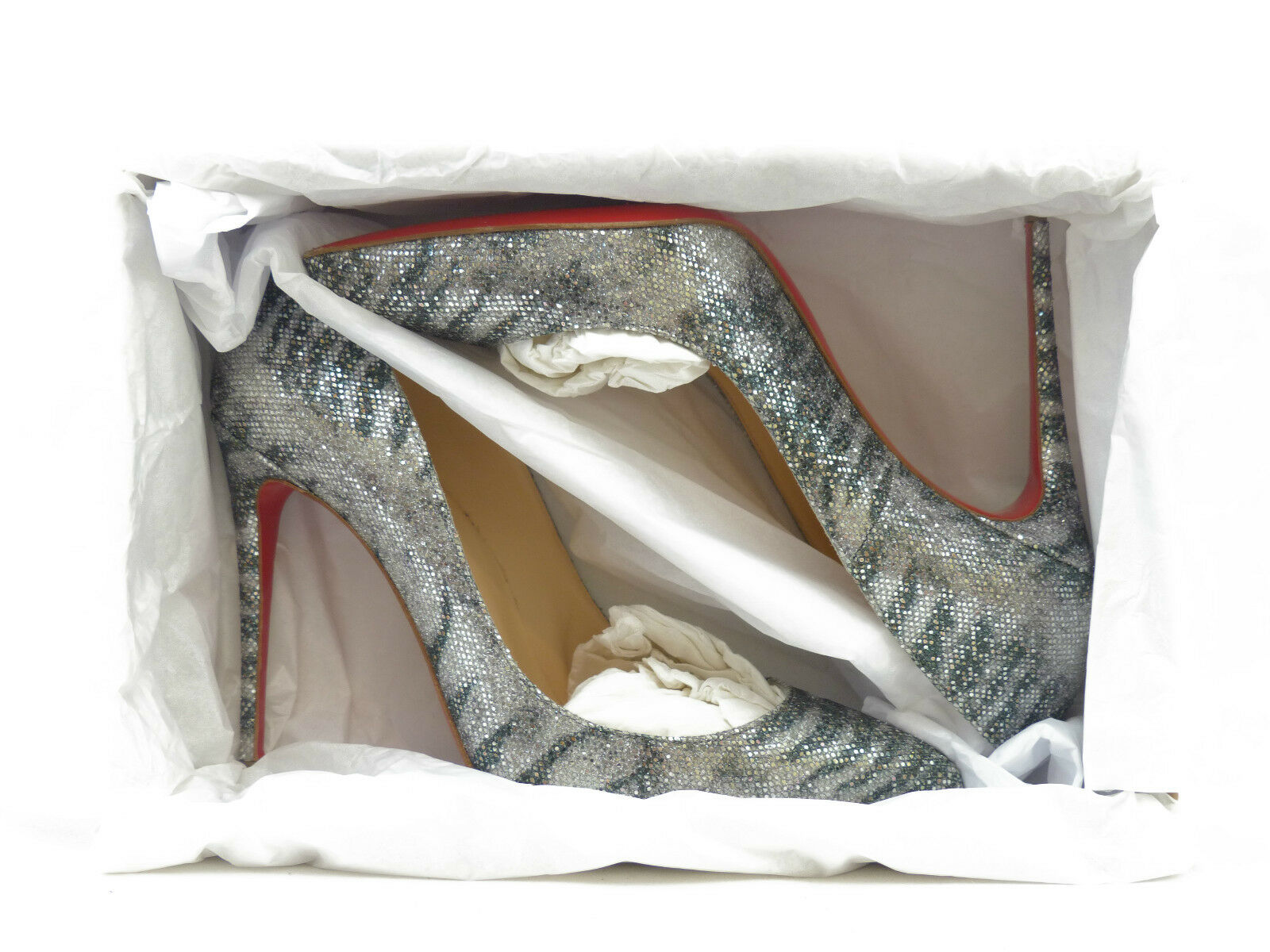 Christian Louboutin Pigalle Follies 100 Silver Silver Silver Glitter Sirene b22c52