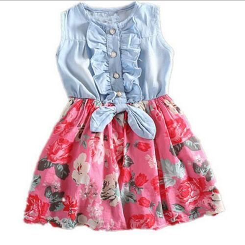 New Summer Floral Toddler Kids Girl Dresses Girls Clothes Dress Size 2-8 Year