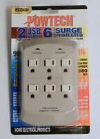 6 Outlet Wall Current Tap Surge Protector 900 Joules With 2 Usb Charging Ports