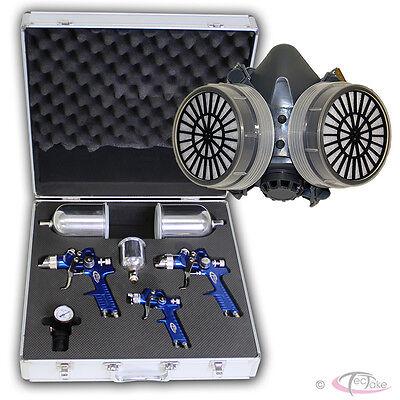 3x Pistolas de pintar HVLP 1,7mm+1,3mm+0,8mm + máscara profesional para pintura