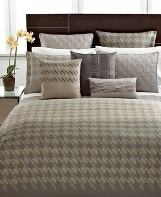 Hotel Collection Modern Houndstooth Cotton Grey King Pillow Sham Pair