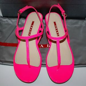 fake prada bags to buy - Neiman Marcus Womens Prada Vernice Rosa Neon Pink Sandals Shoes 39 ...
