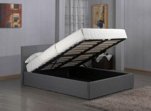 Modern Ottoman Storage Fabric BedGrey Linen3ft Single 4ft6 Double 5ft King