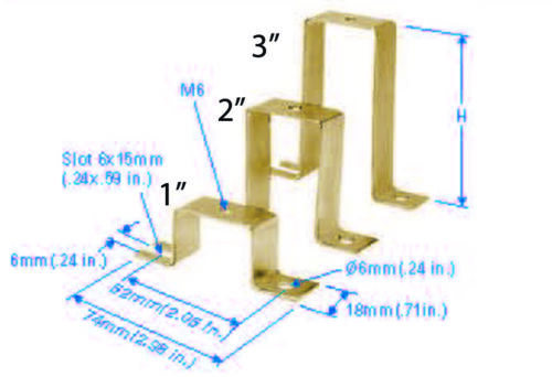 "Lot of 4 1/"" DIN Rail Mounting Standoff Brackets"