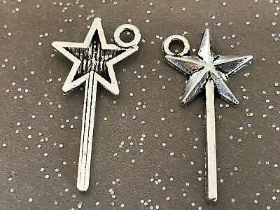 Fairy Wand Charm//Pendant Tibetan Antique Silver 26mm  30 Charms Accessory Crafts