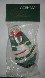 doll-holiday-ornaments-gorham-christmas-tradition-green-dress-hand-crafted-NWT