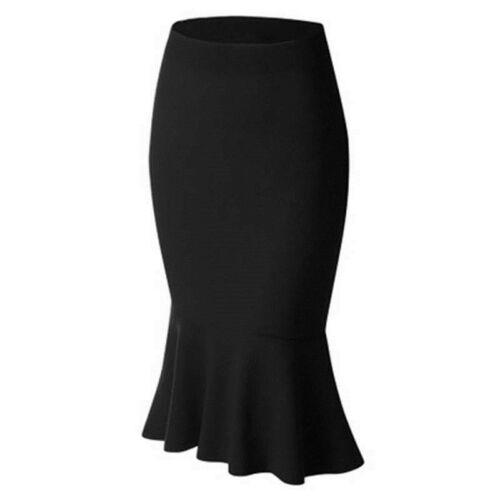 Women/'s Midi Pencil Slim Skirts High Waist Solid Color Hem Bodycon Dress 6A