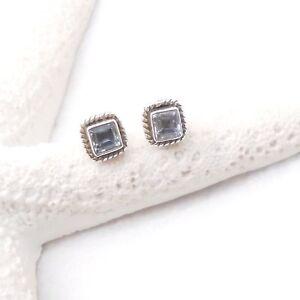 Blautopas-blau-eckig-Nostalgie-Design-Ohrringe-Ohrstecker-925-Sterling-Silber