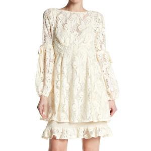 92029838d170b Free People OB725148 Women's Long Sleeve Ruby Lace Mini Dress Cream ...